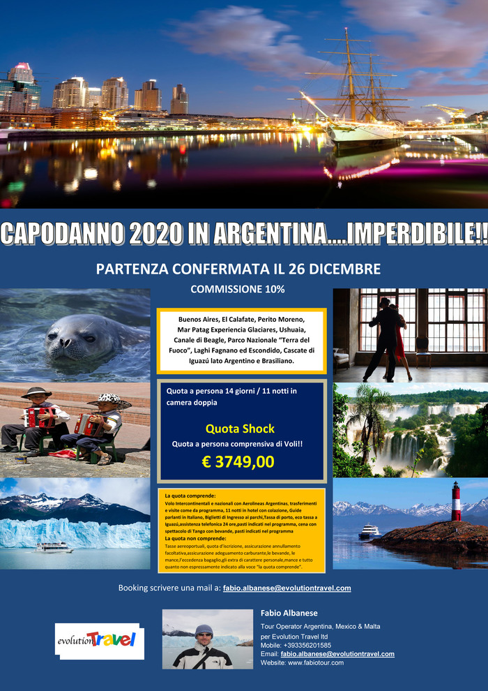 CAPODANNO 2020 in ARGENTINA.....IMPERDIBILE!!